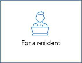 Icon with text: For a resident